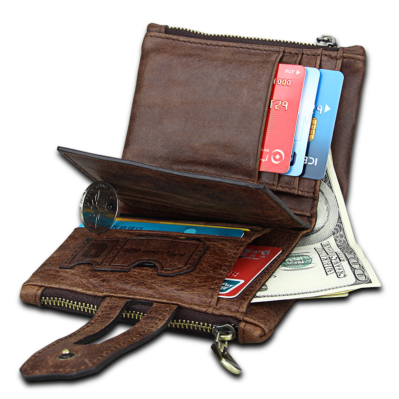 Genuine Leather Men Wallet Small Men Walet Zipper&Hasp Male Portomonee Short Coin Purse Brand Perse Carteira For Rfid