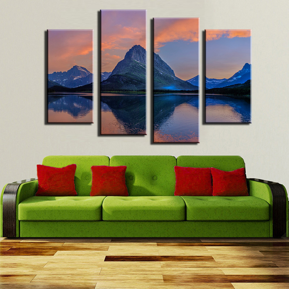 Decoracion Canvas Wall Art Painting For Home Decoration 4pane Lake Natural Scene Pictures No Frame no frame canvas