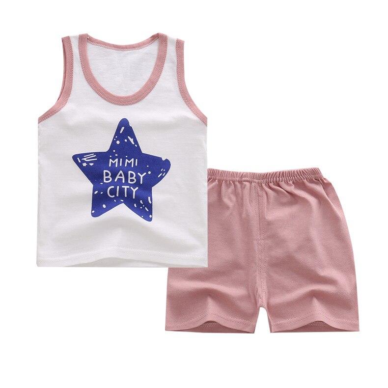 Принт со звездой летние комплект одежды для малыша хлопок милые картины жилет и Шорты Комплекты одежды для маленьких мальчиков 0-6year комплек...