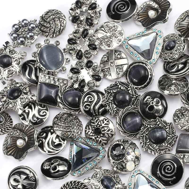 Rivca Snap Button Jewelry 15pcs/lot Mix Many Rhinestone Same Color Styles Metal Charm 18mm Snap Button Bracelet For Women D03450
