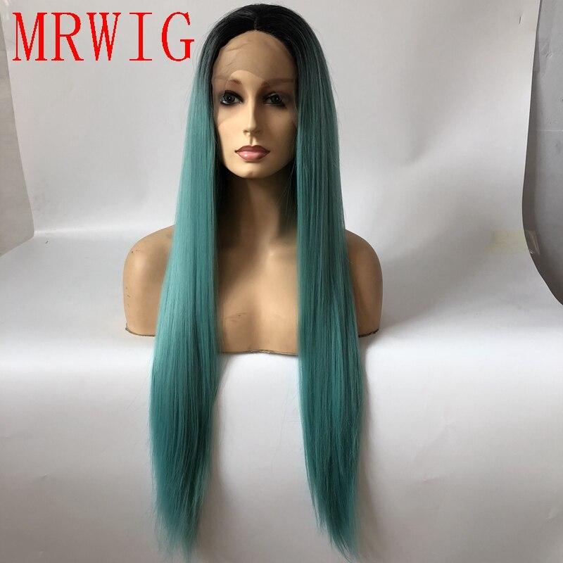 MRWIG настоящие волосы черный/темно-синие ombre шелковистые прямые синтетические кружева спереди парики синий Длинные прямые 60 см средняя часть