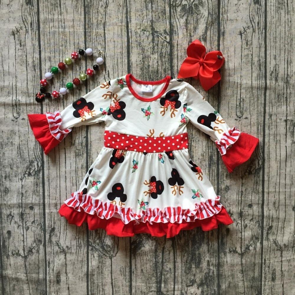 Weihnachten mädchen kinder kleidung baby baumwolle Herbst/Winter rentier maus tutu Santa karierten rüschen kleid boutique spiel zubehör
