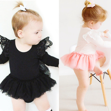 2017 Fashion Baby Girls Clothes Cotton Baby Girl Tutu Dress Lace Rompers Long Sleeve Baby Jumpsuit Trouser