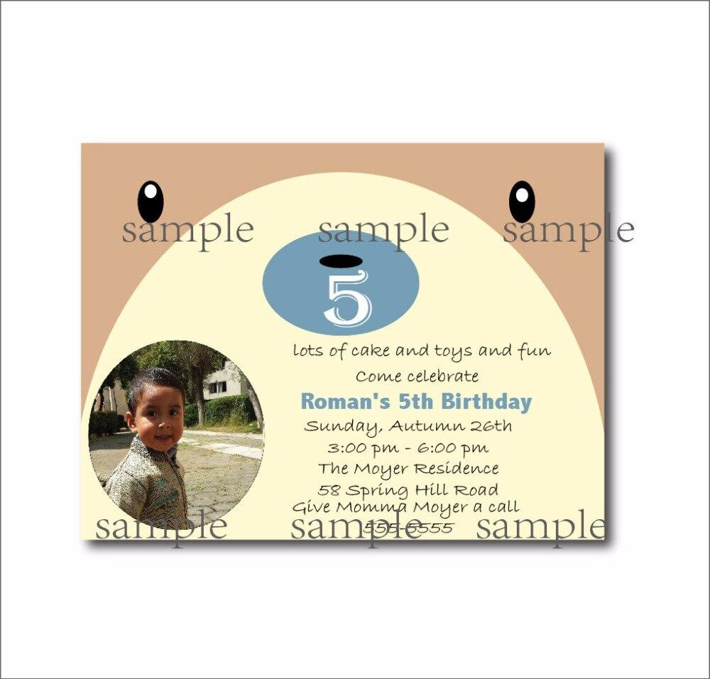 20 pcs/lot Cute Bear Face Birthday Invitations Custom Woodland Baby ...