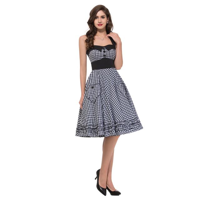 Audrey Hepburn Plus Size Halter womens Vintage Retro 50s Pin up Rockabilly Swing Plaid Dresses Elegant Ladies vestidos femininos