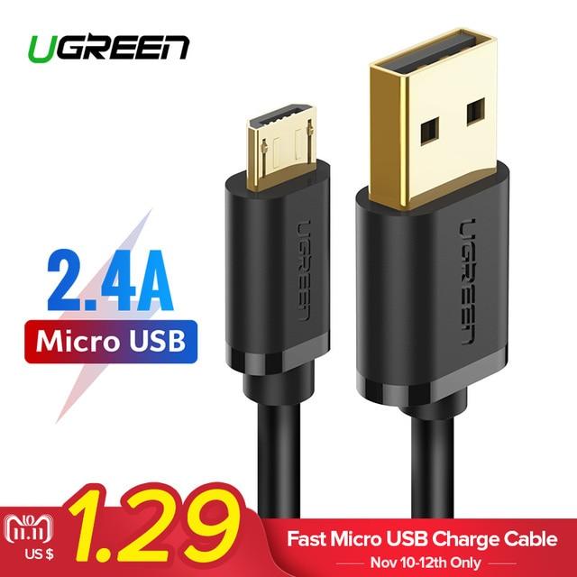 Ugreen Micro USB Câble 2.4A Rapide De Charge USB Câble de Données Mobile Téléphone Câble de Recharge pour Samsung Huawei HTC Android Tablet câble