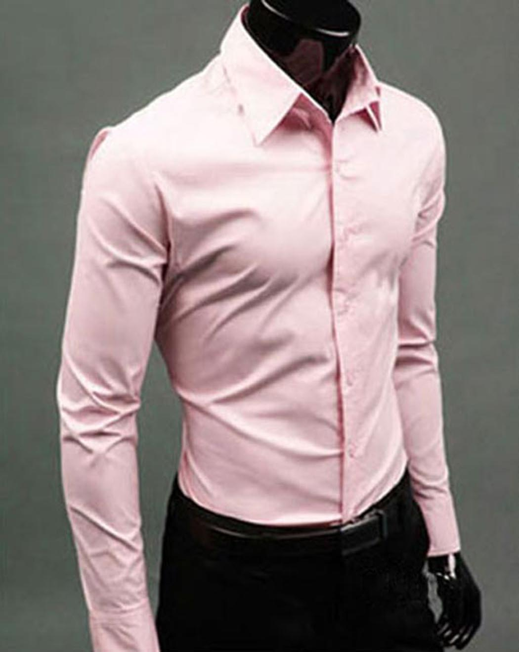 2017 Mens Shirt Bussiness Shirt Formal Pink Slim Fit Long Sleeve ...