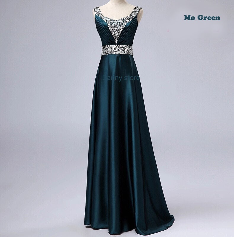 Nouveau 2015 col en v mode formelle longue conception grande taille en soie Zuhair murad perles fête robe de soirée robe Vestido