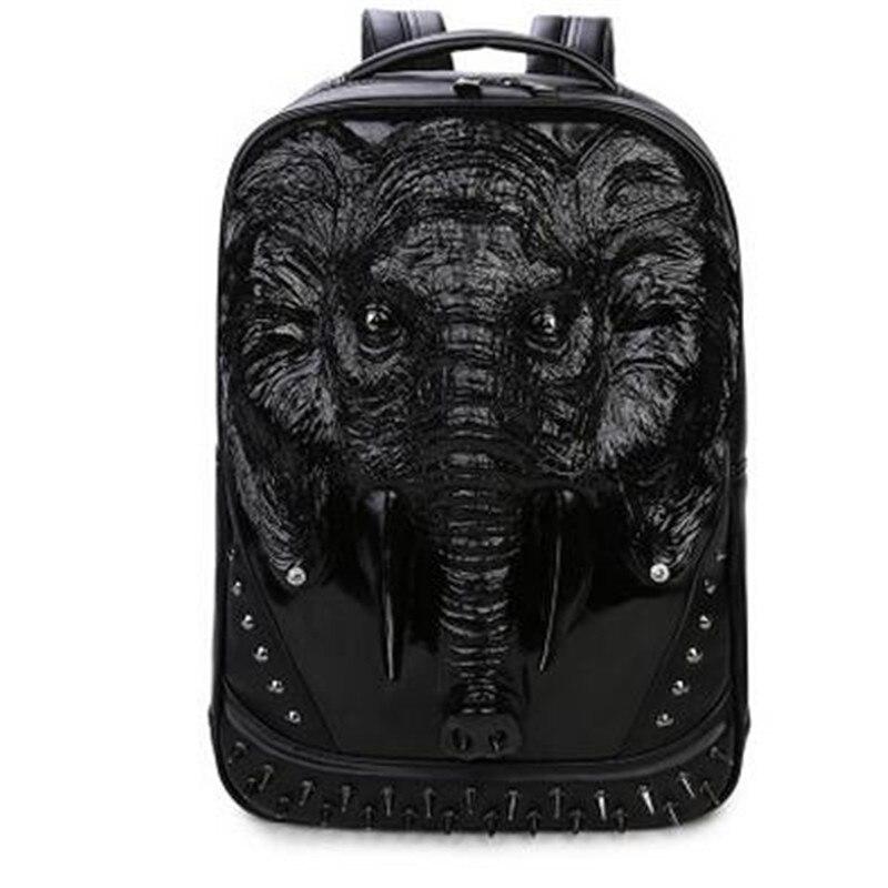 3 Color PU Leather Men Backpack Unique 3D Travel Backpack Punk Rivet Elephants Printing 15.6 Inch Waterproof Men Laptop Bags 1