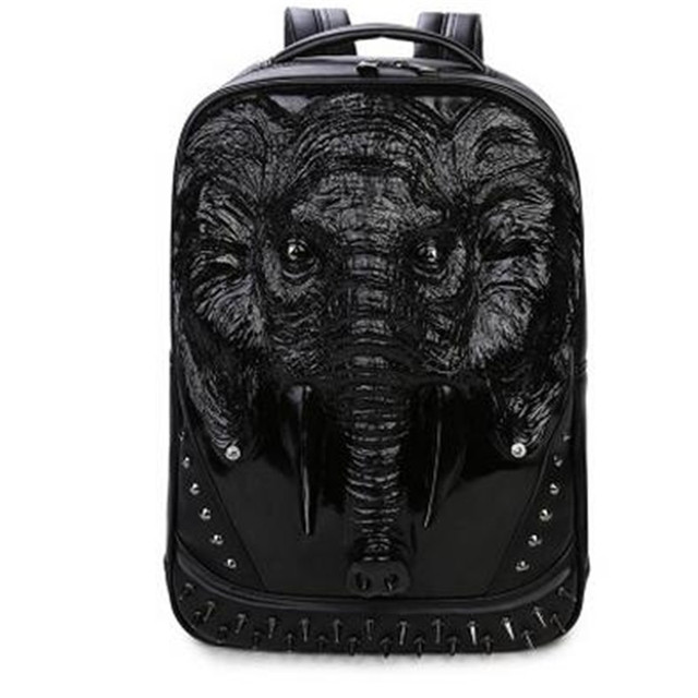 3 Color PU Leather Men Backpack Unique 3D Travel Backpack Punk Rivet Elephants Printing 15.6 Inch Waterproof Men Laptop Bags 1