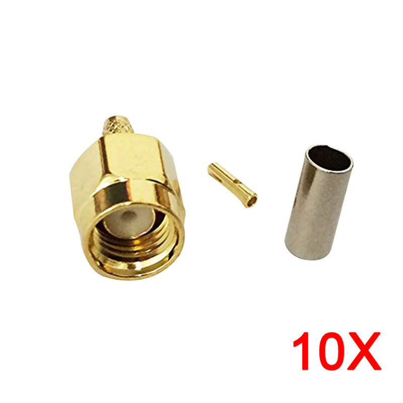 10Pcs Connector SMA Male Jack Crimp RG174 RG316 LMR100 Cable Straight Brass Gold Plating   --M25 dhl ems 2 lots 100pcs connector sma male plug crimp rg174 rg316 lmr100 cable straight d2