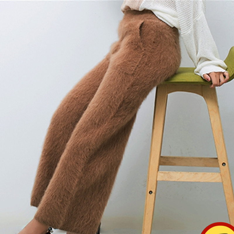 Women's winter mink cashmere knitted trousers thick warm   wide     leg     pants   free shipping