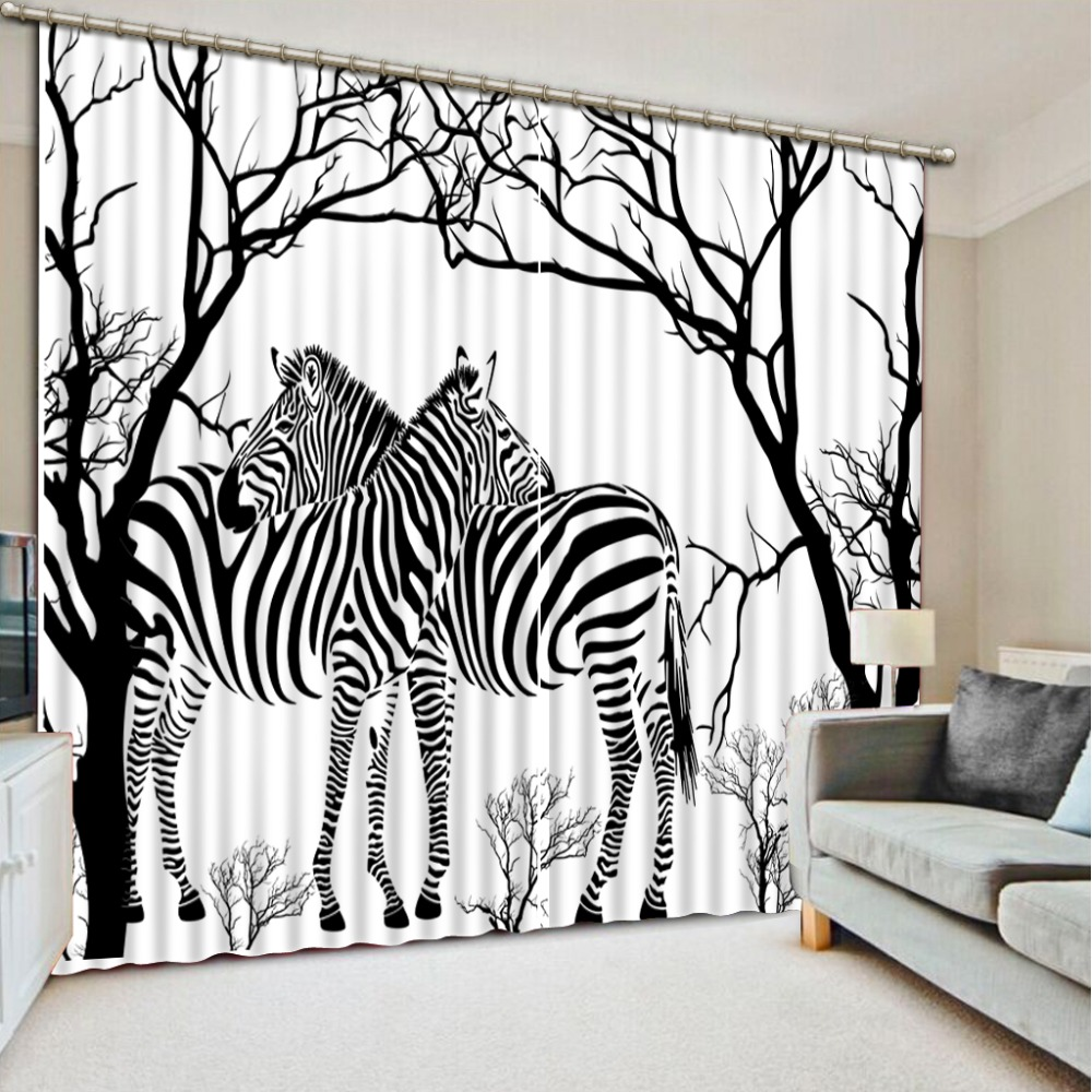 Photo Customize Size 3D Curtain Living Room Black And White Background Zebra  Pattern Blackout Curtain Fabric 3D WindowPhoto Customize Size 3D Curtain Living Room Black And White Background Zebra  Pattern Blackout Curtain Fabric 3D Window