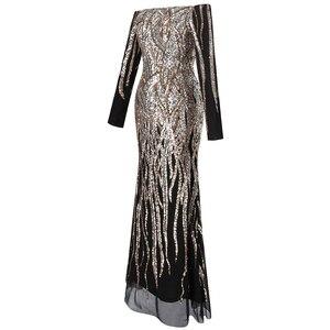 Image 3 - Женское вечернее платье с блестками Angel fashions, золотистое платье с открытыми плечами, длинными рукавами, Модель 404 456