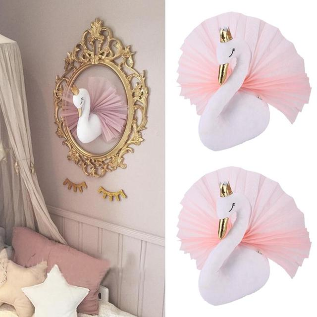 Captivating Golden Crown Swan Wall Hanging Decorations Kids Bedroom Decor Art Gifts  Ornament