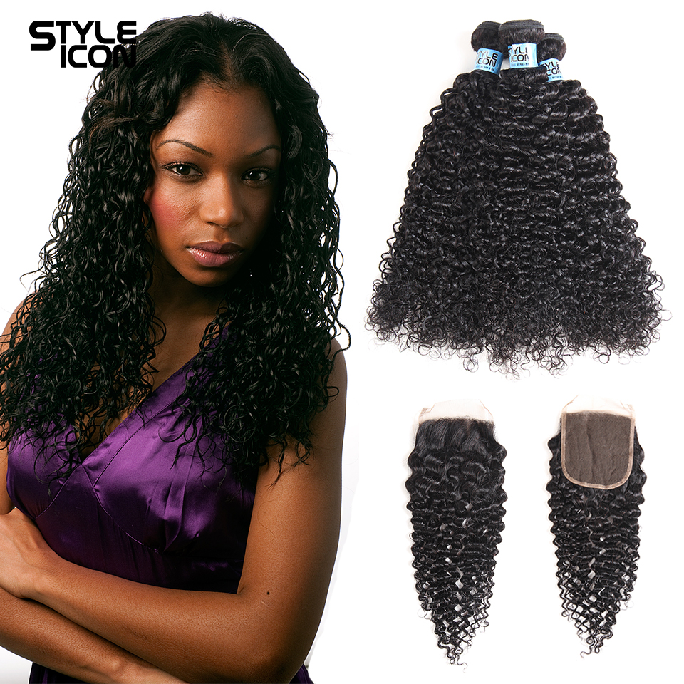 Styleicon Curly Bundles With Closure Malaysian Kinky Curly Hair Weave 3 Bundles Remy Human Hair Bundles With Closure Free Part