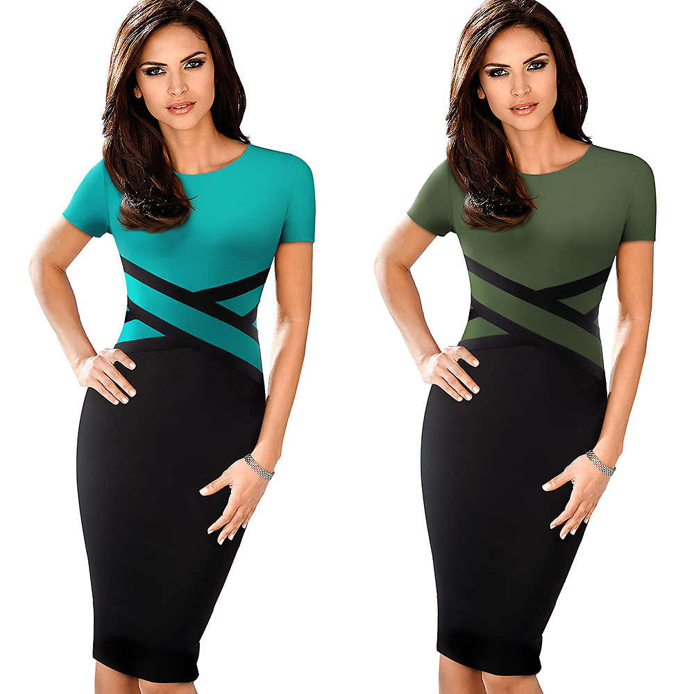 Nice-forever Vintage Elegant Contrast Color Patchwork Wear to Work vestidos Business Party Office Women Bodycon Dress B463
