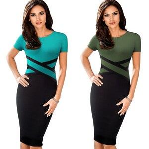 Image 3 - Nizza für immer Vintage Elegante Kontrast Farbe Patchwork Tragen zu Arbeiten vestidos Business Party Büro Frauen Bodycon Kleid B463