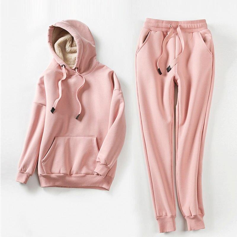 Casual Sports Suit Hooded Lambswool Sweatshirt Women Casual Plus Velvet Oversized Warm Thicken Hoodies Pullover Women Coat Q1671