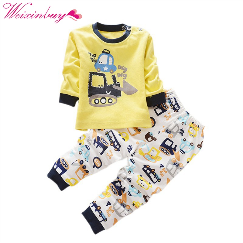 2 pcs baby girl boy clothes cartoon patten cotton long sleeved t-shirt+pants newborn infant suit baby clothing sets size 0-4T 2018 spring newborn baby boy clothes gentleman baby boy long sleeved plaid shirt vest pants boy outfits shirt pants set
