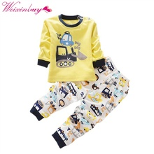 2 pcs baby girl boy clothes cartoon patten cotton long sleeved t shirt pants newborn infant