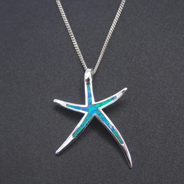 Best selling 100 925 sterling silver jewelry amazing blue fire opal best selling 100 925 sterling silver jewelry amazing blue fire opal pendant opal starfish necklace aloadofball Image collections