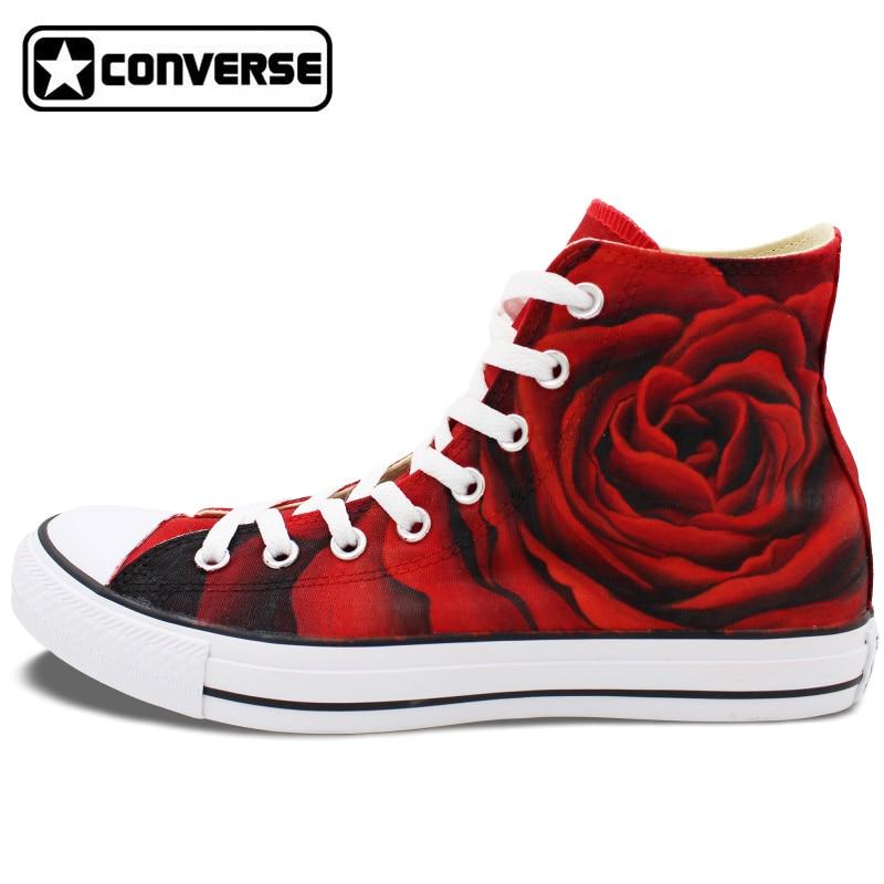 Prix pour Rouge Roses Sneakers Femmes Hommes Converse All Star Design Original Personnalisé Peint À La Main Chaussures Femme Homme Unique De Noël Cadeaux