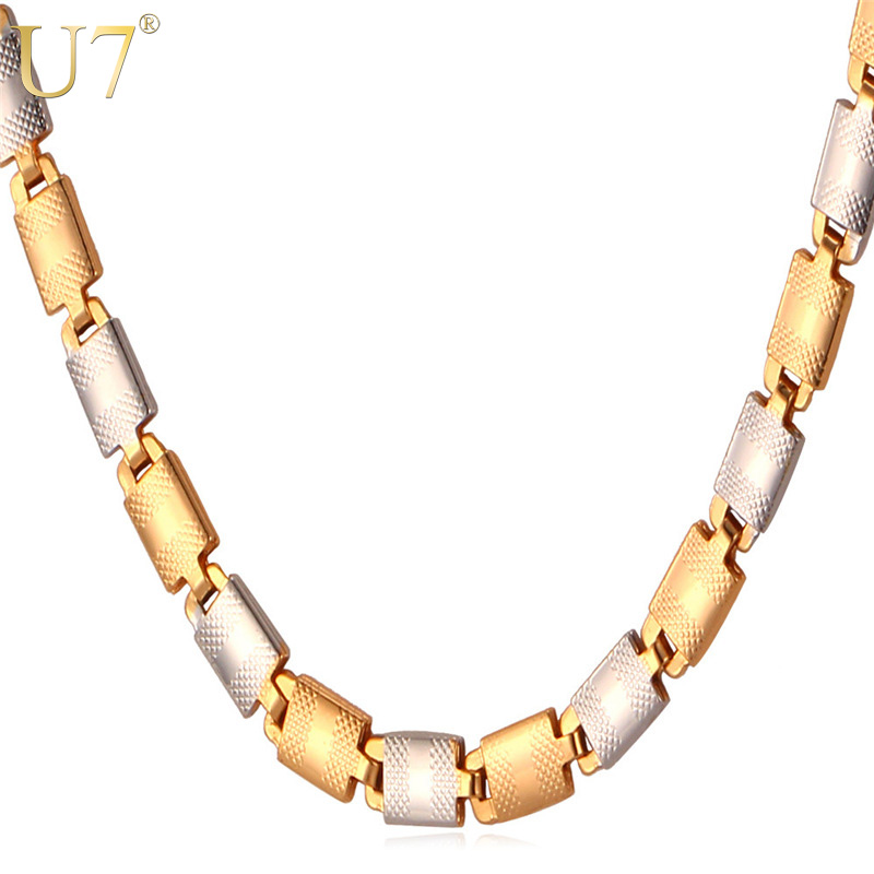 U7 Two Tone Gold Color Jewelry Men Necklace Trendy 3 Size 5mm Wide Chain Necklace Men Gift N378 plus size two tone color asymmetric top