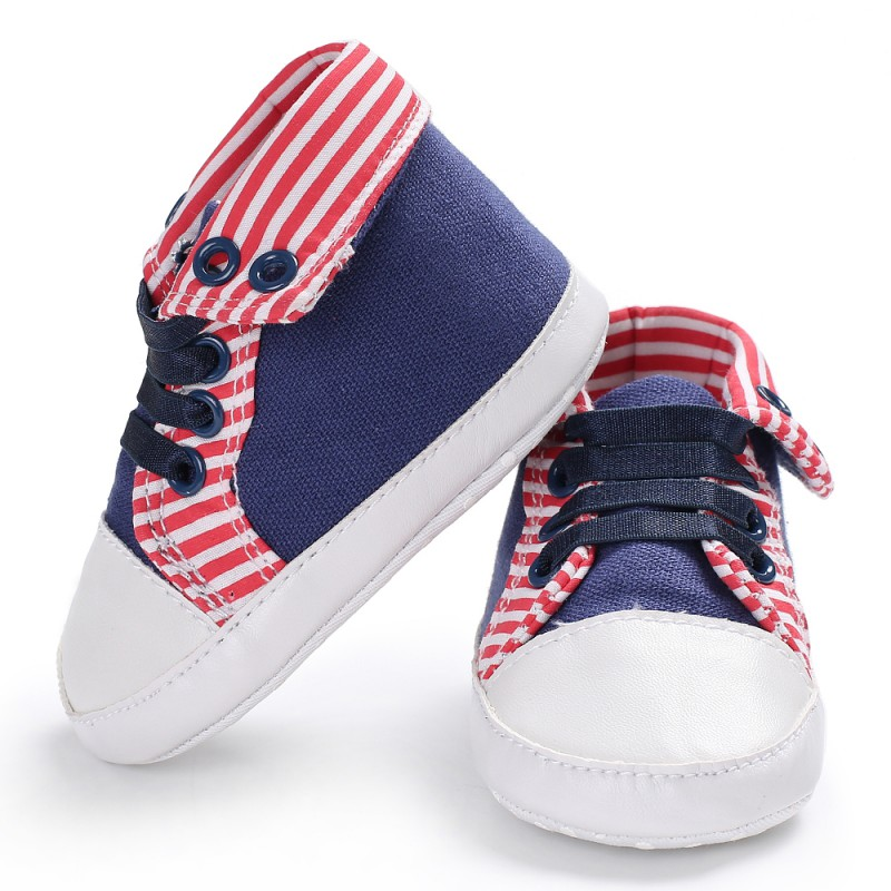 New Baby Casual Shoes Baby Boys Girls Toddler First Walkers Stripe Patchwork Soft Bottom High Shoes 1 Pair M1