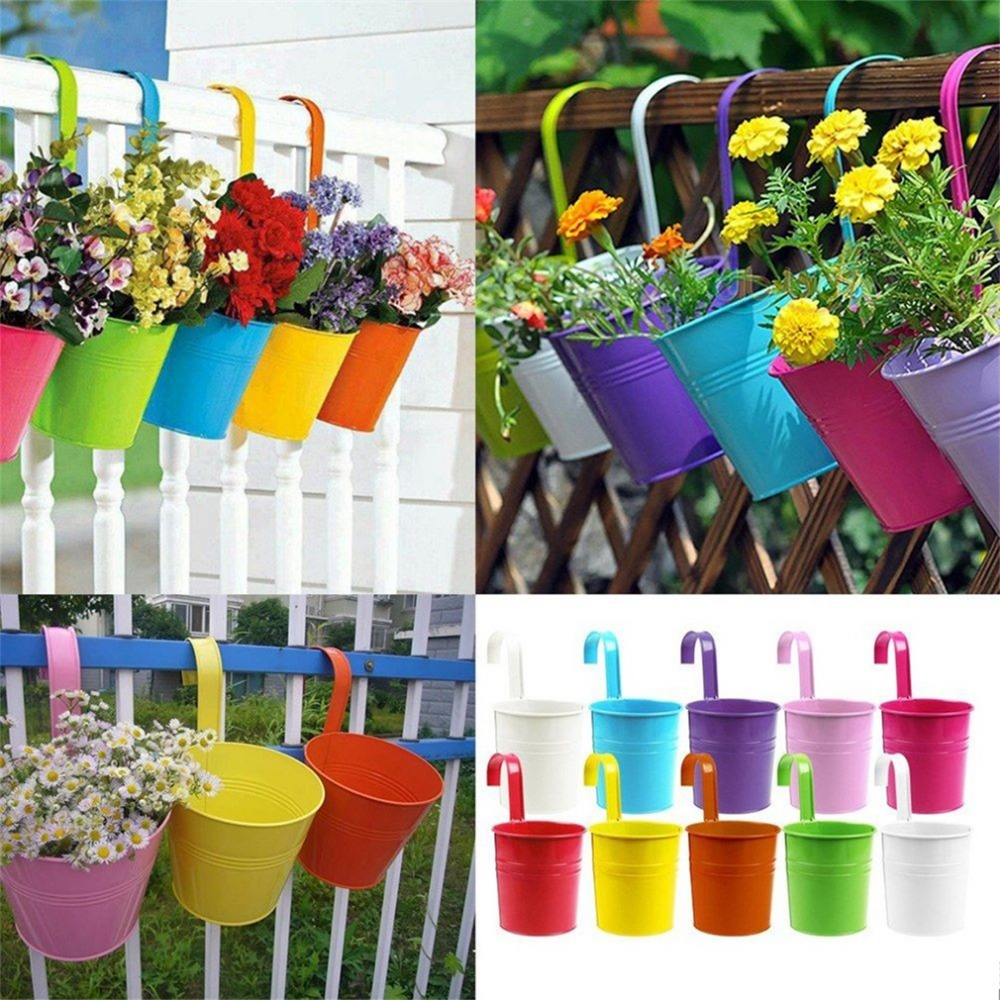 compare prices on balcony garden design online shopping buy low wholesale 1pcs unique design iron hanging flower pots garden plant hanging barrels pastoral balcony decor multicolors