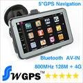 5 de polegada Carro navegador GPS bluetooth AV em MTK wince 6.0 gps navigation 128 M, 4G, suporte Mãos Livres