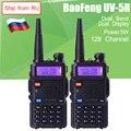 2 pçs/lote BaoFeng UV5R 5 W Dual Band VHF/UHF136-174Mhz & 400-520 Mhz CB Rádio Amador Portátil comunicador Walkie Talkie Transceptor HF