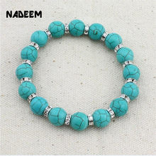 Drop Shipping Bohemian Turquoises Bead Bracelet Silver Crystal Accessory Elastic Green Howlite Stone Bead Bracelet Jewelry Gift(China)