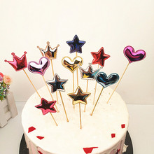 5pcs/Lot Cute Crown Star Cake Topper For Birthday Lovely Flag Baby Shower Girls Diy Party Decorations Accessories