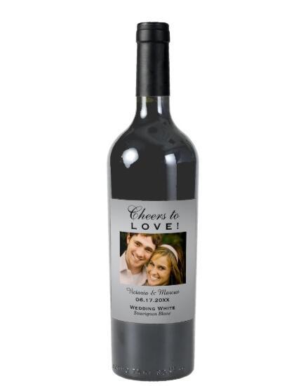 1185 40 De Réductionbouteille De Vin Photo De Mariage En Argent Faveur Du Vin étiquettes De Vin Personnalisables Douche De Mariée Autocollants