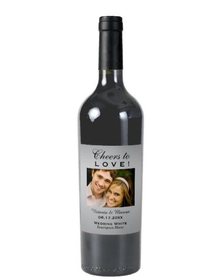Silver Wedding Photo Wine Bottle Favor Wine, Customizable Wine Labels Bridal Shower, Personalized bridesmaid Wine Gift Stickers