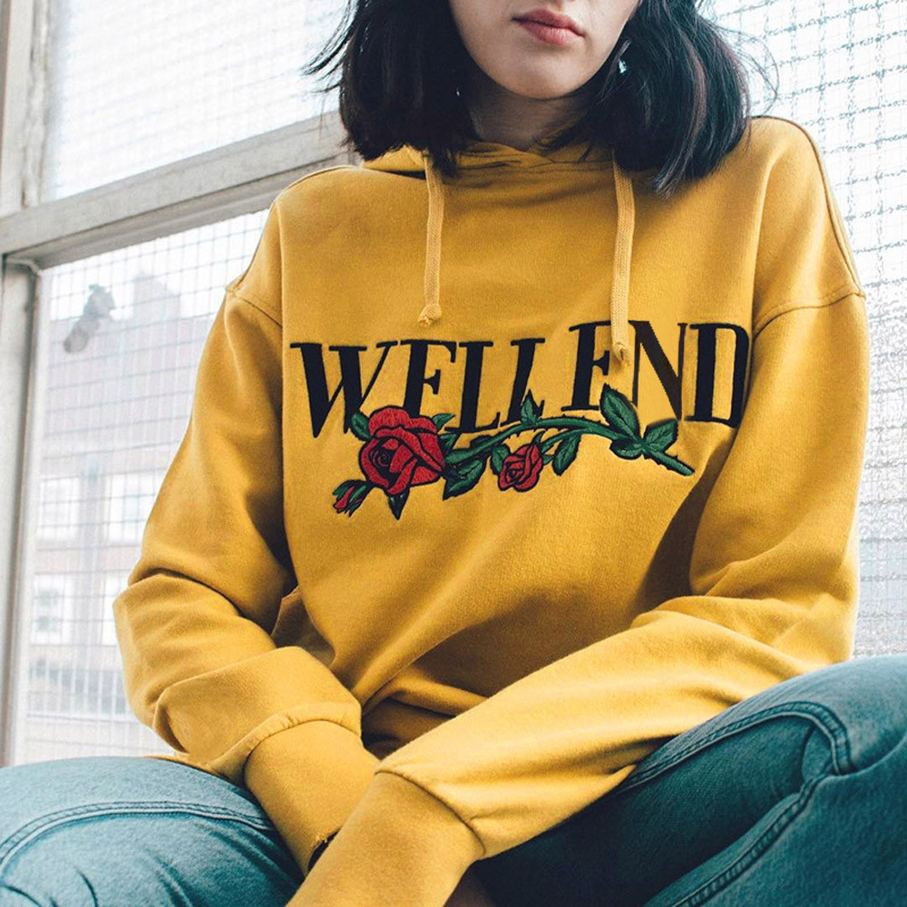 Yellow Hoodie Rose Print Womens Long Sleeve Hoodie Sweatshirt Jumper Hooded Womenu0026#39;S Long ...