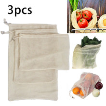 3ocs/Set Plant Fruit Vegetable Protect Reusable Bags Cotton Washable Mesh Bags For Grocery Vegetable Fruits Home Garden Tool(China)