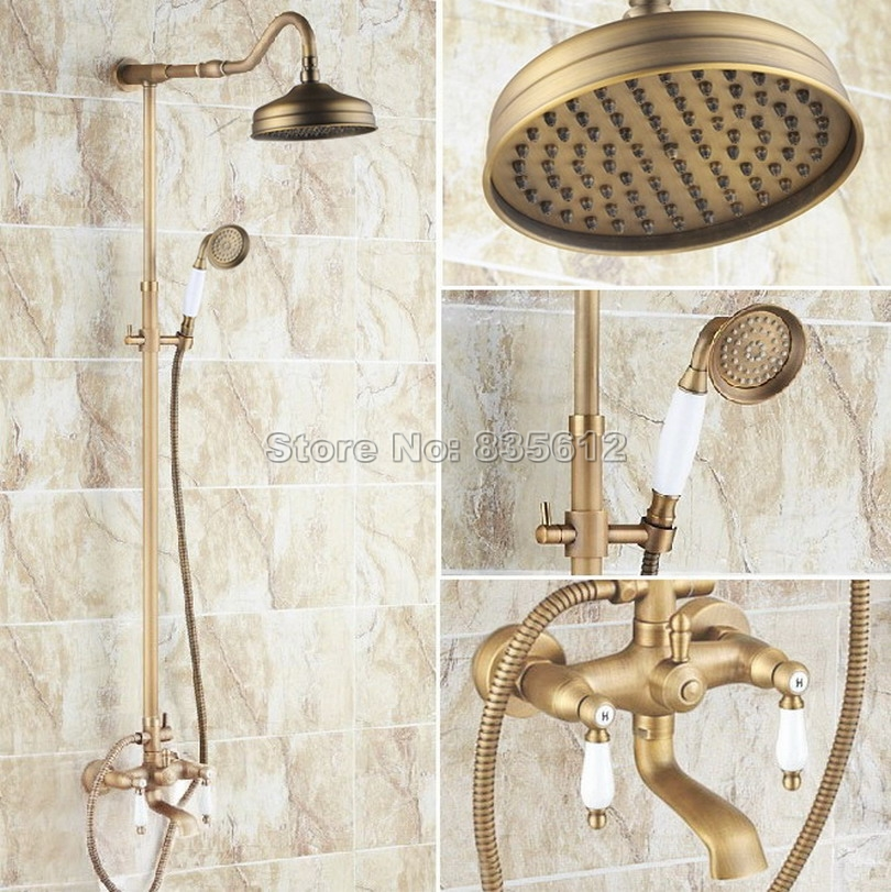 Antique Brass Bathroom Rain Shower Faucet Set with 8 Shower Head & Wall Mounted Dual Ceramic Handles Bathtub Mixer Taps Wrs116Antique Brass Bathroom Rain Shower Faucet Set with 8 Shower Head & Wall Mounted Dual Ceramic Handles Bathtub Mixer Taps Wrs116