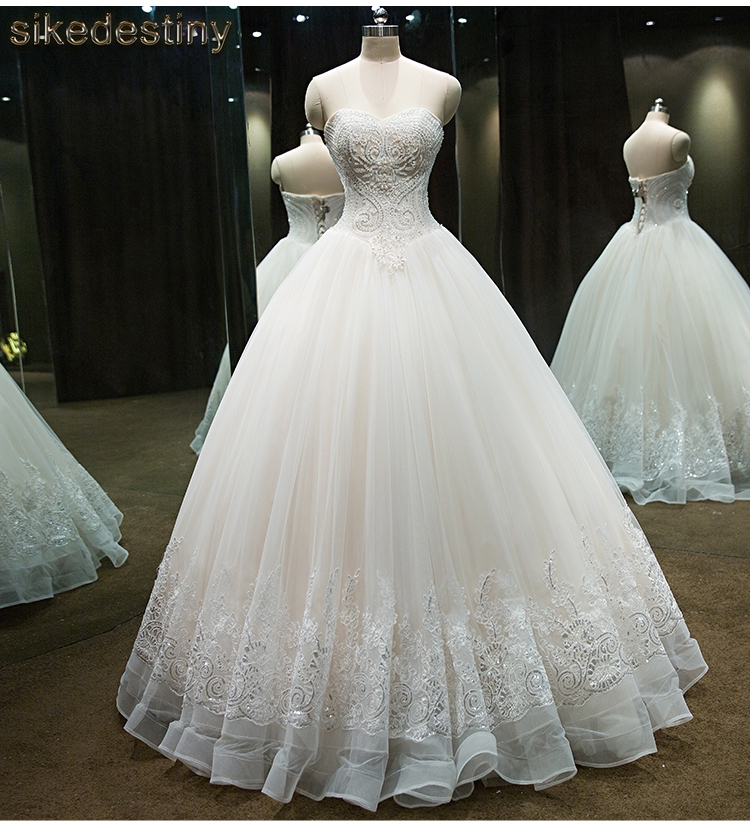 Real Photos Princess Luxury Beaded White Wedding Dress