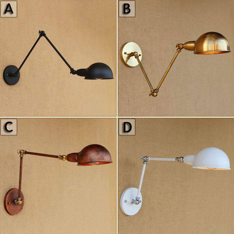 4 Colors Long Arm Vintage Wall Lamp LED Wandlamp Rustic Retro Style Loft Industrial Wall light Sconce Appliques Lampe Murale swing long arm wall light rustic retro loft style industrial wall lamp vintage wandlamp edison wall sconces appliques murales