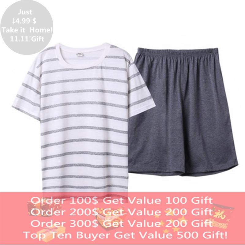 Summer Cotton Two Piece Set Short Sleeved Men's Pajamas Set Sleep&Lounge Sexy  Sleepwear Suit Pijama Casual Plus XXXXL Homewear