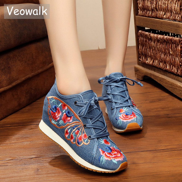 Veowalk Women Casual Canvas Hidden Flat Platform Shoes Cotton Embroidered  Lace up Vintage Ladies Walking Shoes Zapatos Mujer 53e47438b07e
