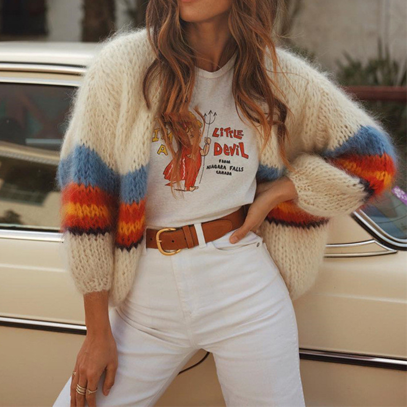 WHOSONG Striped Splice Mohair Knitted Women Cardigans Sweater Vintage Long Sleeve Sweaters Ladies Autumn Winter Cardigans Coat in Cardigans from Women 39 s Clothing
