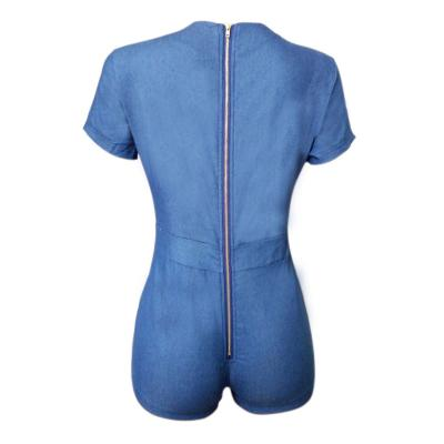 9616eba5e825 Lace Up Short Sleeve Summer Denim Jumpsuit Women 2017 Jeans Rompers Sexy  Bodycon Back Zipper One Piece Playsuit Overalls S XL-in Rompers from Women s  ...