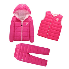 Clothing Sets Winter Snow Wear Boys Girls Clothing Sets Fashion Kids Clothes 3Pcs Down Jacket + Vest+Trousers Boys SuitClothing