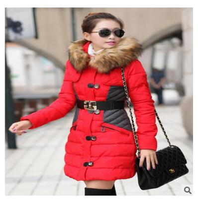 все цены на  Jacket women's cotton coat 2017 winter in the long section of the large size of the cotton-padded jacket hooded Korean stitching  онлайн