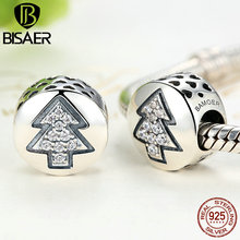 925 Sterling Silver Merry Christmas Tree Beads Charms Fit Pandora Charms Bracelets & Bangles Fine DIY Jewelry Making Gift