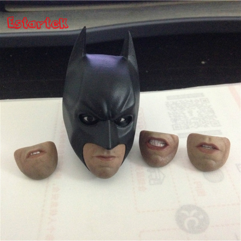 Estartek 1/6 Batman Moveable Eyes and 4 Type Mouth Head Sculpt for 12inch Action Figure DIY