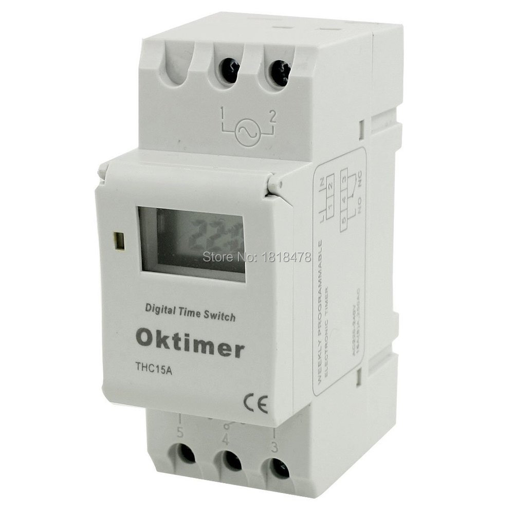 THC15A Digital LCD Weekly Programmable Timer Time Relay Switch AC110V big lcd display timer 6v 9v 12v 24v dc ac 7 day weekly programmable time switch relay control for led light or solar application